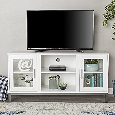 WE Furniture 52  Avenue Wood TV Console with Metal Legs - White