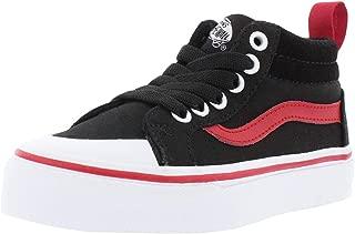 Vans Boy's Racer Mid (Pop) Black/Racing Red Skateboarding Shoes