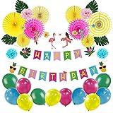 SUNBEAUTY 誕生日飾り付け 夏 南国風パーティー飾り 壁飾り 写真背景 フラミンゴガーランド 夏パーティーデコレーション ペーパーファン 風船 HAPPYBIRTHDAY装飾