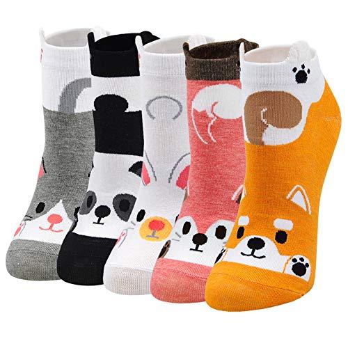 Lustige Socken Damen Bunte Sneaker Socken mit Motiv Tier,Baumwolle Tiersocken mit ohren,Mit Witzig Muster H& Katze Fuchs Panda Kaninchen,für Frauen Mädchen Weihnachten Geburtstag 5 Paare Gr.35-42