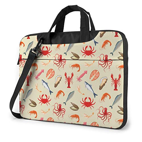15.6 inch Laptop Shoulder Briefcase Messenger Fresh Seafood with Fish Octopus Crab Shrimp Tablet Bussiness Carrying Handbag Case Sleeve