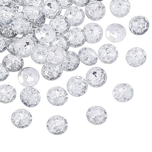 PandaHall- Lot de 100 pcs Boutons Strass en Acrylique, 2-Trou, Facettes, Plat Rond, Cristal, 13x4.5mm, Trou: 1mm