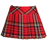 Ladies Women Girls Scottish 12 Inches Tartan Check Pleated Mini Short Kilt Skirt 6 Colours (Women: 14, Red)
