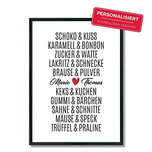 Personalisiert Schoko & Kuss - Trüffel & Praline | Poster | A4 | A5 | Hochzeit | Verlobung | Liebe | Traumpaar