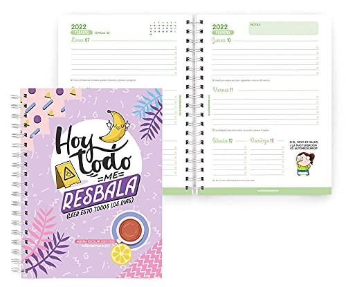 MIQUELRIUS - Agenda Escolar 2021-2022 - Tamaño PLUS 15 x 21,3 cm, Semana Vista, MissBorderlike Resbala,...