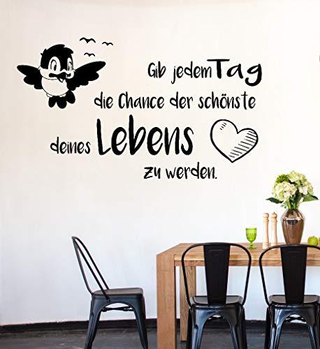 tjapalo® pk225 Wandtattoo gib jedem Tag die Chance wandtattoo wohnzimmer spruch zitate Wandsticker Flur und Diele, Farbe: Schwarz, Größe: B58xH34cm