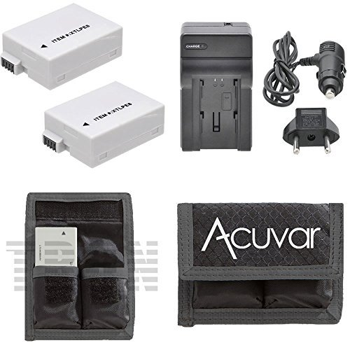 2 LP-E8 Rechargeable Camera Batteries + Car/Home Charger for Canon EOS Rebel T2i, T3i, T4i, T5i, 550D, 600D, 650D, 700D, Kiss X4, X5, X6 and Other Models + Acuvar Battery Pouch