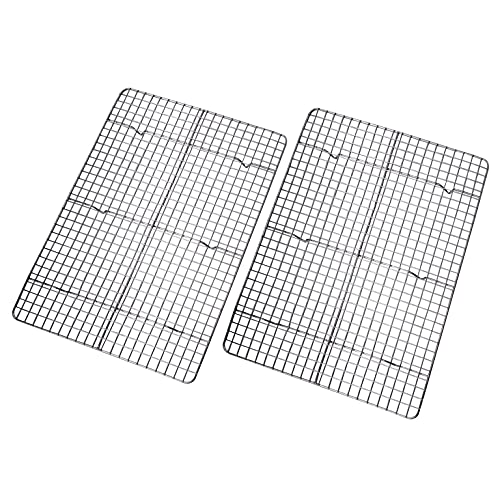 Checkered Chef Cooling Rack - Set of 2 Stainless Steel, Oven Safe Grid Wire Racks for Cooking & Baking - 11 ¾' x 17'