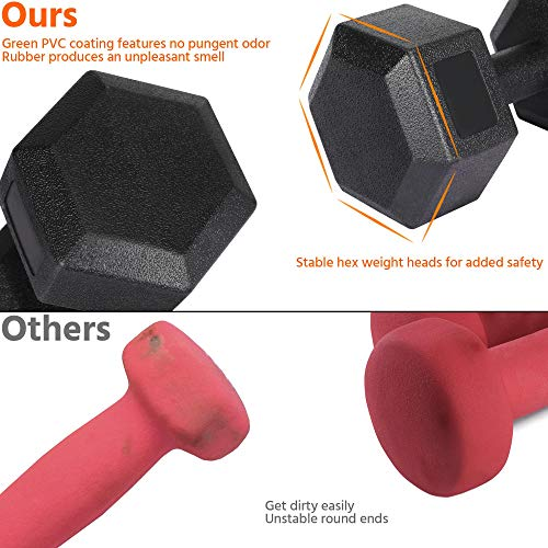 Yaheetech 2x5kg Portable Dumbbells Hand Weights Set Dumbbells for Home Fitness Sporting Training, Sold in Pair Black