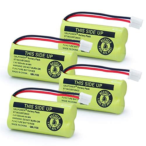 QBLPOWER BT18433 BT28433 BT-8300 BATT-6010 Rechargeable Battery Compatible with AT&T Vtech Phones BT184342 BT284342 BT1011 BT1018 BT1022 BT1031 89-1326-00-00/89-1330-01-00/CPH-515D 2.4V(Pack of 4)