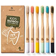 #LightningDeal Greenzla Kids Bamboo Toothbrushes (6 Pack)   BPA Free Soft Bristles Toothbrushes   Eco-Friendly, Natural Bamboo Toothbrush Set   Biodegradable, Compostable & Organic Charcoal Wooden toothbrushes