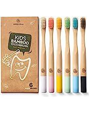 Greenzla Cepillos de dientes de bambú para niños (Kit de 6)   Cepillos de Dientes de Carbón de Cerdas Suaves   Set de cepillos de dientes para niños de bambú natural, biodegradables y 100% orgánicos