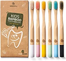 Greenzla Kids Bamboo Toothbrushes (6 Pack) | BPA Free Soft Bristles Toothbrushes | Eco-Friendly, Natural Bamboo...