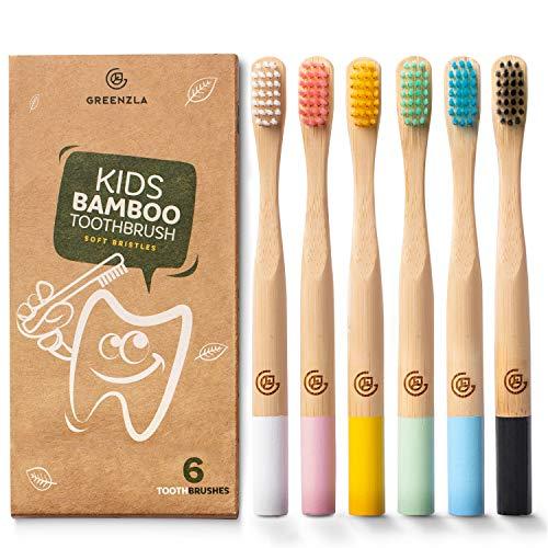 Greenzla Bambus Zahnbürsten für Kinder (6er Pack) | Holzzahnbürsten mit weichen Borsten | Umweltfreundliches, natürliches Bambus-Zahnbürstenset | Bioabbaubare & 100% organische Zahnbürsten für Kinder