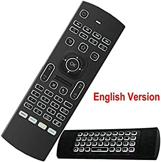 Calvas MX3 backlight english Russian Remote control Keyboard mouse fly air mouse with IR learning for X96 H96 Android tv box remote - (Color: Backlight English)
