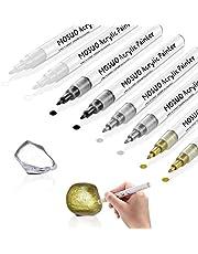 8-pack akrylfärgpennor för rockmålning, MOSUO 0,7 mm permanenta markörpennor för gör-det-själv-projekt, glas, keramik, sten, tyg, trä, metall – vattenbaserad, snabbtorkande (2 guld 2 silver 2 svart 2 vit)