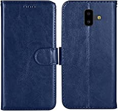 Generic Flip Cover Case for Samsung Galaxy J6 Plus PU Leather Magnetic Closure Wallet Card Slots Front Back Cover for Samsung Galaxy J6 Plus Blue