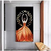 ダンサーガールドレスキャンバス絵画肖像画ポスターとプリント壁アートリビングルームの入り口の家の装飾-70x140cmx1フレームなし