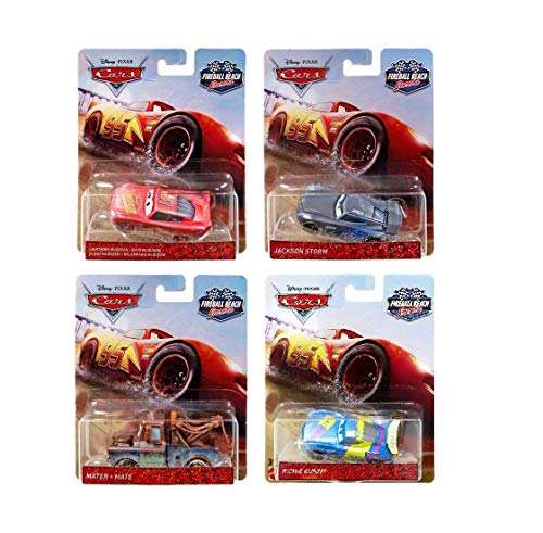 Cars Diecast 1:55 Scale Bundle of 4 Fireball Beach Racers Mater, Lightning McQueen, Richie Gunzit, and Jackson Storm