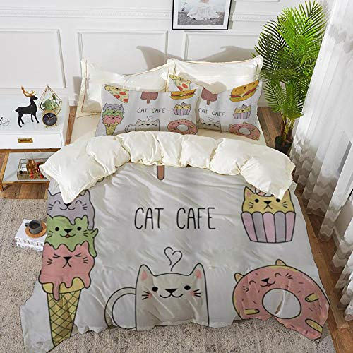Duvet Cover Set, Bed Sheets, Cats Cafe Hand Drawn in Food Illustration Pizza Ice Cream Cupcake Sweetness Theme,Microfibre Duvet Cover Set 200 x 200 cmwith 2 Pillowcase 50 X 80cm