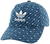 adidas Originals Sombrero Relajado con Tirantes para Mujer, Estampado Monograma, Color Azul Marino, Gris Ceniza, Blanco, Talla única