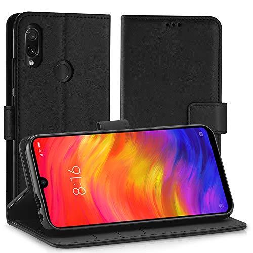 Simpeak Funda Compatible con Xiaomi Redmi Note 7 Funda Cuero Negro, Funda Libro Compatible con Redmi Note 7 Soporte Plegable/Ranuras Tarjetas y Billetes/Acceso a Botones-Negro