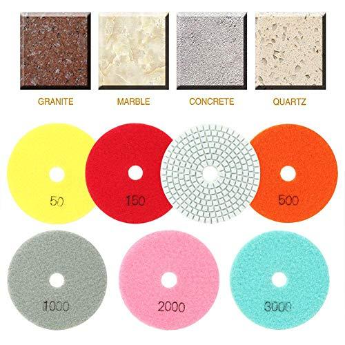 Juego de almohadillas de pulido de resina de mármol, 7 piezas 100 mm 50-3000Almohadilla de pulido de resina de mármol abrasivo Disco de pulido suave para cerámica de piedra Vidrio Baldosas de piso de