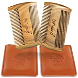 BFWood 2 PCS Sandalwood Beard Combs with Durable Leather Cases - Gift Designed