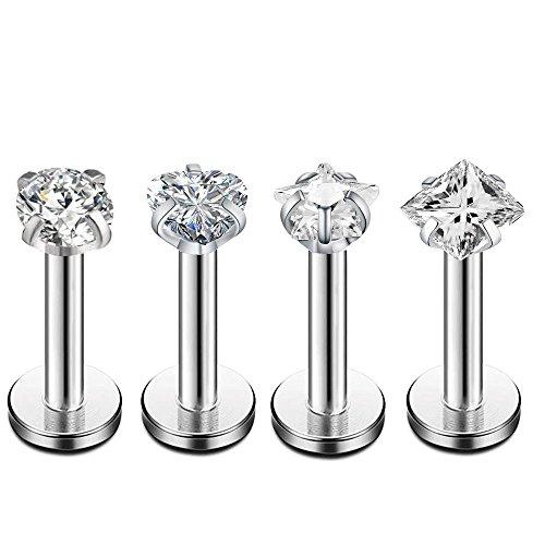 16Gauge CZ Labret Cartilage Tragus Monroe Lip Nose Helix Studs Earrings Stainless Steel Piercings Jewelry