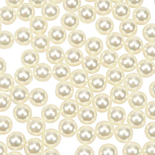 TOAOB 1000 Piezas 10 mm Plástico ABS Sin Agujeros Imitación Perlas Redondos de Blanco Marfil Para Decoración y Manualidades