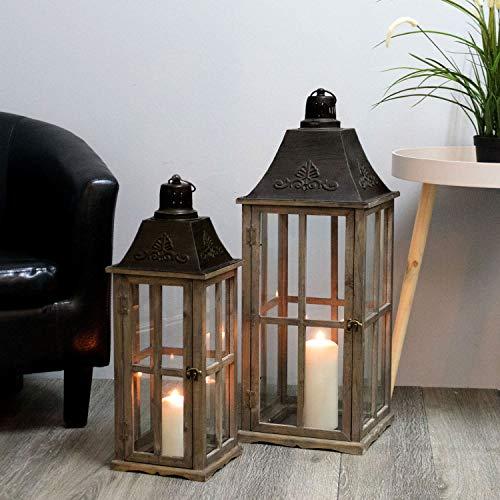 Multistore 2002 2tlg. Laternen Set H74/58cm Antikbraun - Windlicht Kerzenleuchter Kerzenhalter