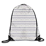 uykjuykj Bolsos De Gimnasio,Mochilas,Tribal 5 Gym Sport Bag Drawstring Bag Backpack Draw Cord Bag for Men Women Gym,Sport,Yoga,Dance,Travel White Lightweight Unique 17x14 IN