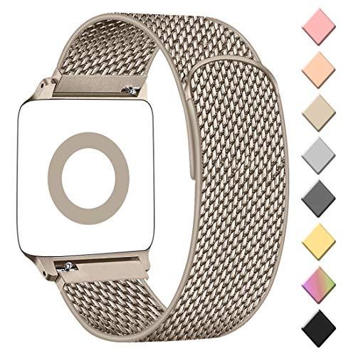 AK kompatibel mit Apple Watch Armband 38mm 40mm 42mm 44mm, Metall Edelstahl Ersatzarmband kompatibel mit iWatch Series 5/4/3/2/1 (05 Champagner, 42mm/44mm)