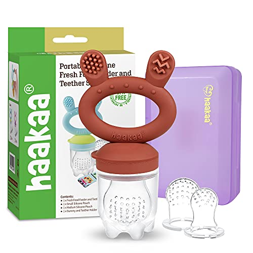 Baby Fruit Food Feeder Pacifier - haakaa Silicone Feeder and Teether All in One,BPA Free Teething Relief Toy with Teether Clip&Travel Case (Copper)