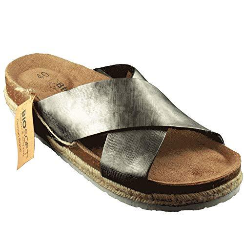 BIOSOFT Damen Nylon Plateau Sandale Bella Gr. 37-41 Frauen Freizeit Schuh | Sandalette | Espadrilles - Silber | Silver Mirror 40