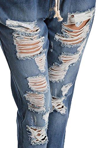 Women's Distressed Hole Cutout Denim Skinny Jogger Jeans 6