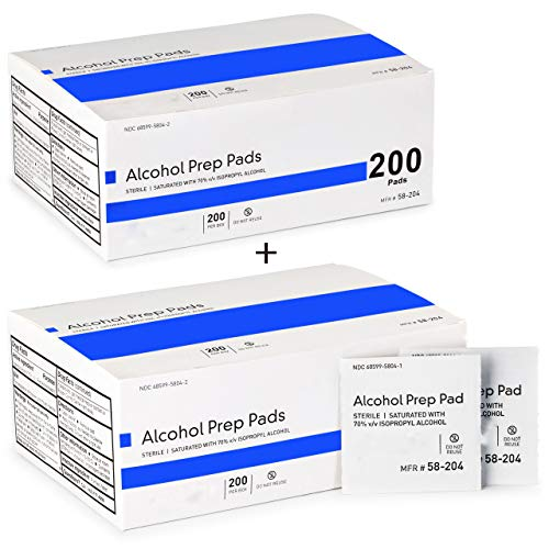 Alcohol Prep Pads, Medium 2-Ply - 400 Alcohol Wipes, Individually Wrapped Swabs, Saturated with 70% v/v Isopropyl Alcohol