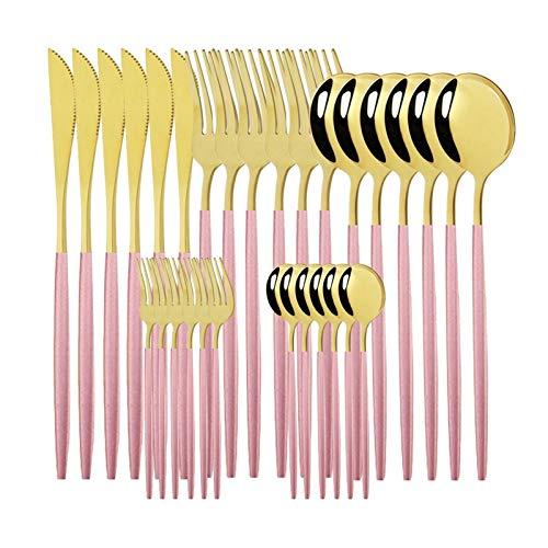 Juego de vajillas 18/10 Acero inoxidable 30 unids Green Gold Cubertery Set Vajilla Cuchillo Ensalada Tenedor Cuchara Cuchara Cuchara Set Lavavajillas Caja fuerte (Color : Pink Gold)