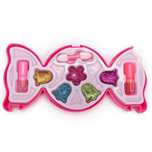 Bluelover Candy-Shaped Kids Maquillage Kit Paillettes Yeux Ombre Lèvres Sticks Éponge Pinceau Fleur Étape De Danse