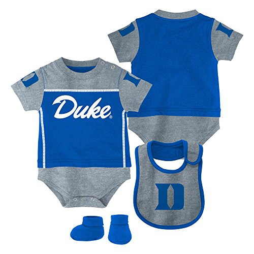 Outerstuff Duke Blue Devils Baby/Infant Lil Jersey Creeper, Bib, Bootie Set (12 Months)
