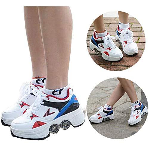 Hmyloz Zwei in Eins Walze Rollschuhe Mit Vier Laufrunden Schuhe Verformung Schuhe Mädchen Jungen Erwachsene Räder Männer Damen Prämie Auf Rädern Hacke Schuh,42