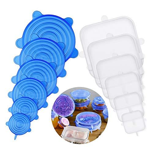 Homealexa Dehnbare Silikondeckel 12er Set in Verschiedenen Größen Silikon Stretch Deckel (EU LFGB-Zertifizierung) Stretch Lid Frischhalte für Schüsseln,Becher,Dosen,Obst - Rund+Rechteck