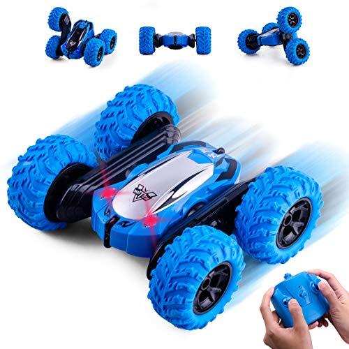 Highttoy Ferngesteuertes Auto für Jungen 4-9 Jahre, Stuntauto für Kinder Alter 5-12 Doppelseitige 360° Drehung 4WD Rennwagen mit LED Lichter Jungen Mädchen Blau