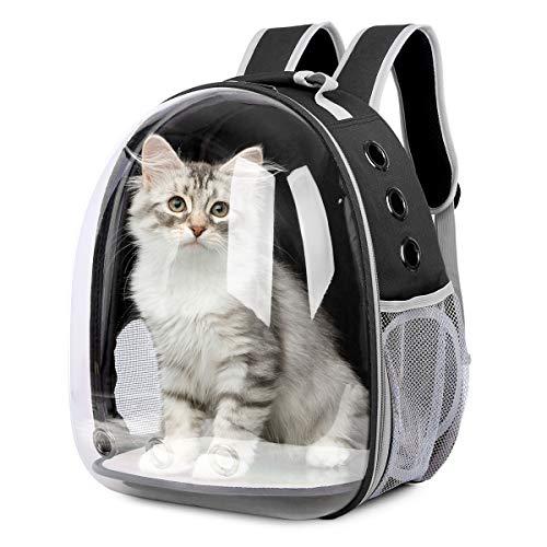 Glenmore Mochila para Mascotas Transparente Mascotas Mochila Portátil para Mascotas Bolsa de Viaje Cápsula Espacial Transparente Transpirable Mochila Delantera Paquete, Negro