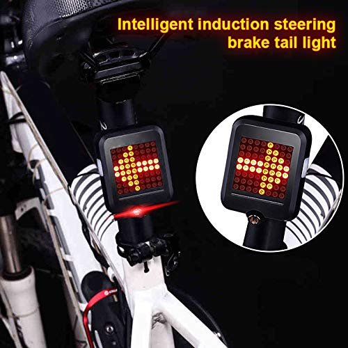 Syfinee USB Rechargeable Bike Tail Light 64 LED Bicycle Turn Signal Lights Intelligent Sensor Brake Ultra Bright Bicycle Rear Cycling Safety Strobe Lights,for Road Bikes or Helmets