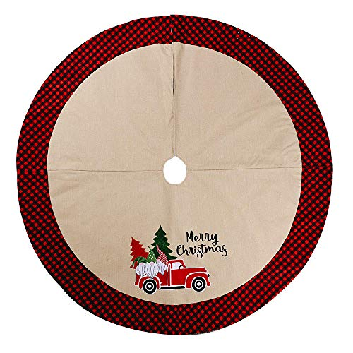 SummerXYH Christmas Tree Skirts Christmas ornaments forest old man car pattern linen cloth Christmas tree bottom dress 106cm