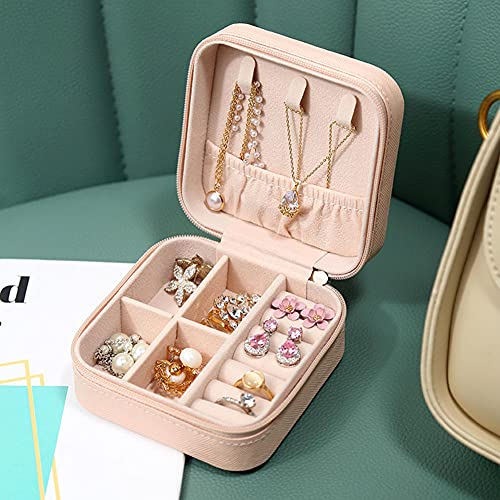 XGYUII Organizador de joyas, caja de almacenamiento portátil de cuero con cremallera