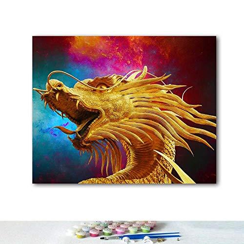 Olieverfschilderij, digitaal, knutselen, tijger en draak, creatieve woonkamer, decoratief schilderwerk, handbeschilderd, decompressie, 40 x 50 cm, frameless