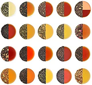 Assorted Loose Leaf Tea Sampler | 20 TEAS, 100 SERVINGS | Black, Green, Oolong, White, Chai & Herbal Teas | 100% NATURAL I...