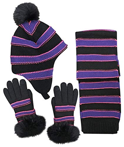 N'Ice Caps Girls Fashion Striped Knit Hat Scarf Glove 3PC Soft Pile Lined Set (Purple/Black, 10-14 Years)